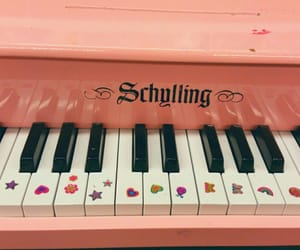 aesthetic, piano, and pink image