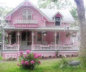 house, pink, and flowers image