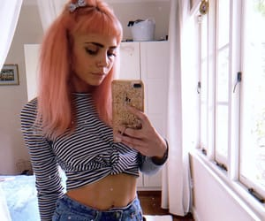 aesthetics, pink hair, and selfie goals image
