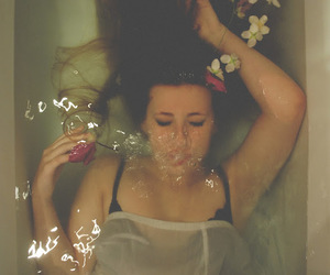 bath, flowers, and hair image