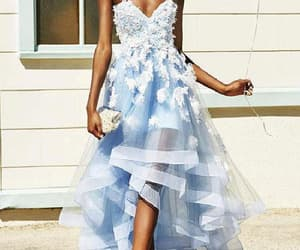 prom dress lace, high low evening dresses, and evening dresses blue image