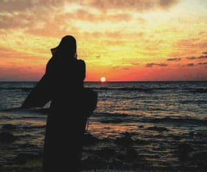 hijab, muslim, and sunset image