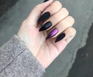 black, purple, and chrome nails image