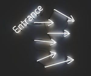 arrow, entrance, and neon image
