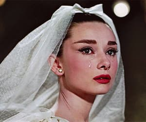 audrey hepburn, cry, and funny faces image