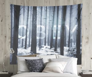 dorm, wall tapestry, and forests image