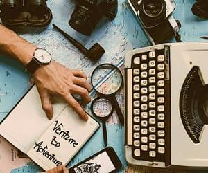 aesthetic, globe, and typewriter image