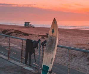 beach, sunset, and surf image