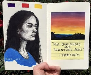 art, art journal, and sunset image