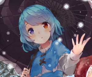 anime, blue hair, and blushes image