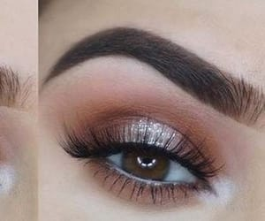 green eyes, lashes, and brown shadow image