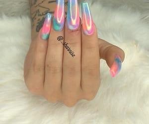 nails, acrylic, and chrome image