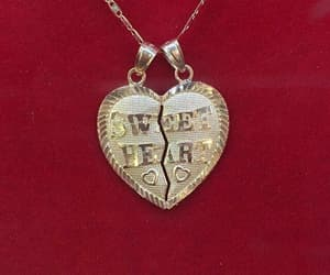 red, heart, and necklace image