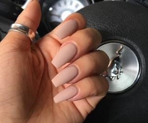 nails, acrylic, and Nude image