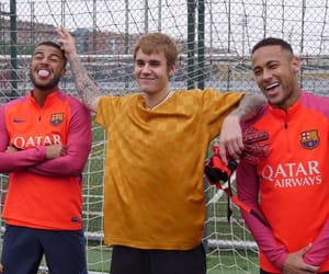 justin bieber, football, and Barcelona image