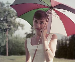 audrey hepburn, umbrella, and vintage image