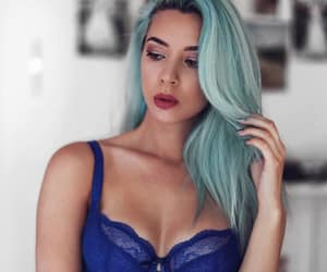 blue hair, fashion, and lace bra image