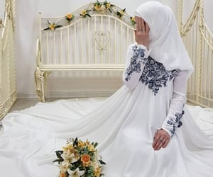 hijab, long dress, and white image
