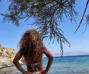 beach, curly hair, and bikini image