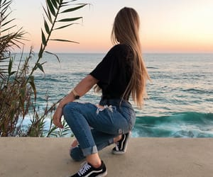girls, ocean, and plants image