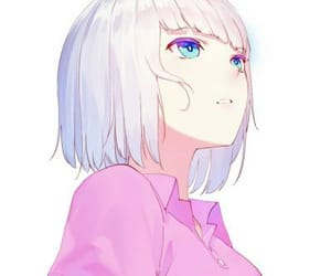 anime pink cute girl aesthetic +  anime girl with white hair = not my art