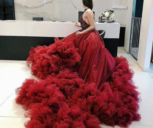 red, beauty, and dress image