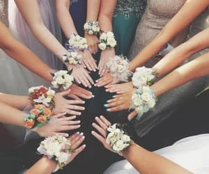 flowers, bracelet, and bridesmaid image