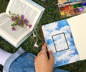 books, nature, and reading image