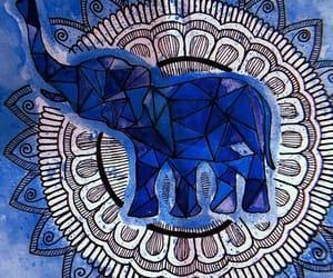art, elephant, and blue image
