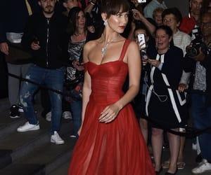 long, red dress, and bella hadid image