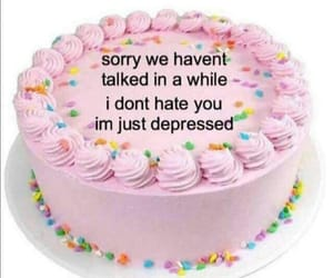 depressed, sad, and cake image