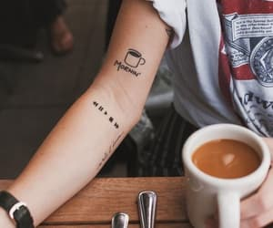 tattoo, coffee, and morning image
