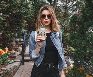 coffee, girl, and outfit image