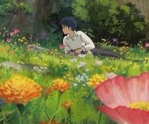 anime, flowers, and green image