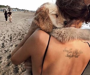 dog, girl, and beach image