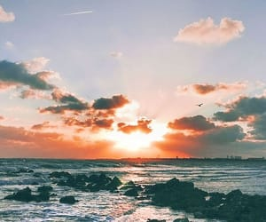 sunset, sea, and wallpaper image