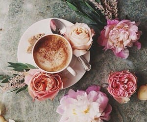 coffee, peonies, and flowers image