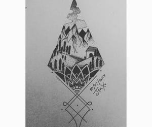 drawing, ink drawing, and mountains image