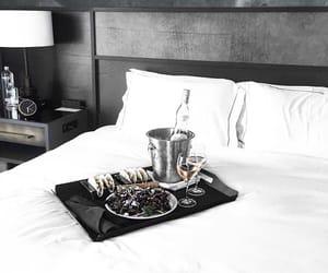 bed, breakfast, and bedroom image