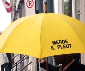 rain, umbrella, and yellow image