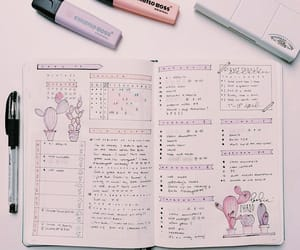 study, bullet journal, and pastel image