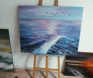 art, sea, and canvas image