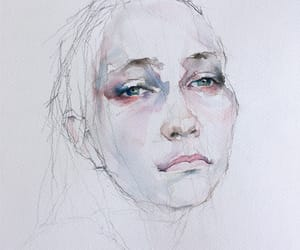 draw, watercolor, and face image