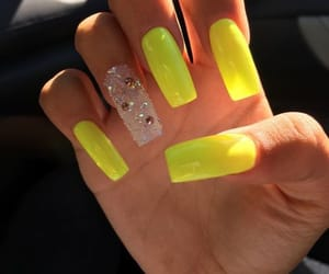 nails, yellow, and pretty image