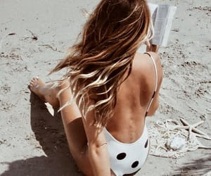 beach, book, and hairstyle image