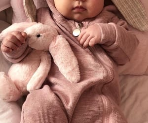 baby pink, bunny, and baby image