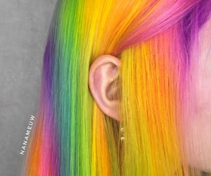 colored hair, green, and rainbow image