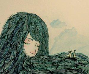 sea, art, and hair image