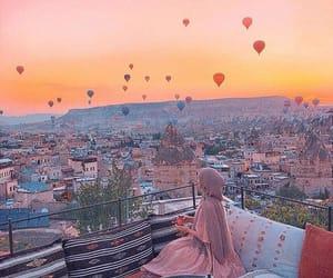 hijab, sky, and view image