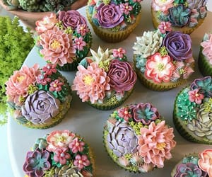 cupcake, cake, and succulents image